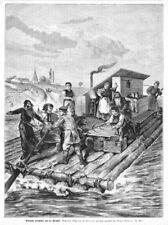 Weichsel,  Polen, polnische Flößer,  Original-Holzstich von 1882