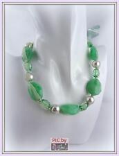 AB734g sommerliche Langkette Halskette GRÜN Perlen Steine Acryl Satin Band 100cm