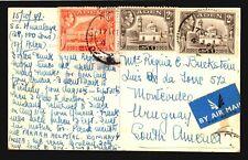 1949 ADEN to Uruguay Rare destiny Air Mail HIMALAYA S.S SHIP BOAT POSTCARD PHOTO