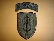 2 Merrowed Edge Subdued Patches: AIRBORNE + US 8th INFANTRY DIVISION *Unused*