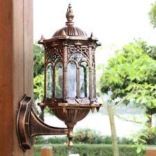Outdoor Antique Exterior Wall Light Fixture Aluminum Glass Lantern Garden Lamp