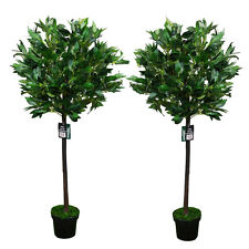 Pair of 2 4ft Artificial Bay Leaf Tree Indoor or Outdoor Decorative Plant 120cm