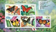 Butterflies II Philanippon Comores 2011 m/s Mi. 2981-85 MNH #CM11102a  IMPERF