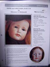 Seeley's Dollmaker'S Worksheet - Hans & Gretchen - K*R 114 Kammer & Reinhardt