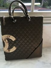 Auth Chanel Olive Green& Python Quilted Leather HandBag EXCELLENT w/ Auth Card