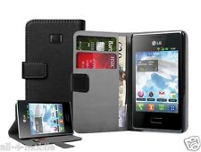 Black Wallet Leather Flip Case Cover Pouch for LG E400 Optimus L3 +2 PROTECTORS