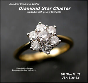 Diamond Daisy * Star * Cluster Ring size M Birmingham HM 18ct Gold .50ct DIA