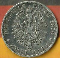 1876 German State of Bavaria- 2 Mark- 90% Silver- Some Impressive Details~