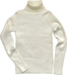 NEXT Ecru Girls Warm Knitted Ribbed Polo Neck Roll Neck Jumper top Sweater 3/16