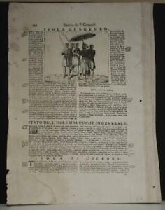 BORNEO NATIVES 1690 CORONELLI UNUSUAL ANTIQUE ORIGINAL COPPER ENGRAVED PLATE
