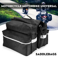 Universal Canvas + Leather Motorcycle Pannier Side Bag Cycle Luggage Saddle