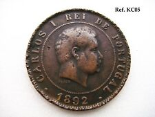1892 Portugal King Carlos Ist 20 Reis Coin in Fine+ Grade , ref KC05