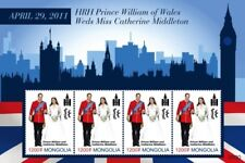 Mongolia- Royal Wedding Prince William and Kate Middleton Stamp -Sheet of 4 MNH