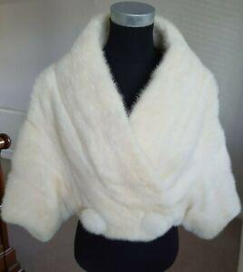 Ivory Mink Bolero Jacket Visone Visón Nerzstola Bridal Widding Size S 8 10