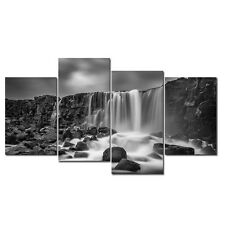 Picture Painting Canvas Wall Art Print Home Decor Gray Waterfall Landscape Photo