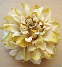 "4 1/2"" Variegated Golden Yellow Dahlia Silk Flower Hair Clip,Wedding,Dance,Prom"