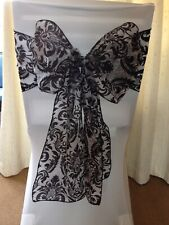 50 Black Flock Wedding Chair Sashes ideal for weddings, parties and events