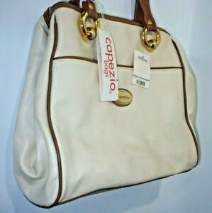 Capezio Vegan Leather Cream & Brown Shoulder/Handbag Metal Logo