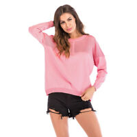 Women Fall Pink Knitted Pullover Jumper Sweater Casual Top T-Shirt Blouse