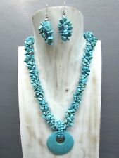 """16"""" Turquoise Chip 3 strands Necklace with Agogo Pendant Free Earrings Handmade"""