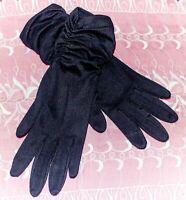 Vintage Ladies Dress Gloves Black Nylon Ruched At Wrists