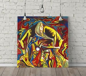 JACKSON POLLOCK 1 SQUARE CANVAS WALL ART FLOAT EFFECT/FRAME/POSTER PRINT-YELLOW