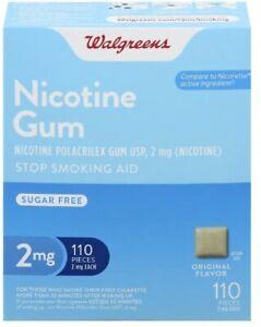 Walgreens Nicotine Gum 2mg 110 Count Original Flavor  Compared to Nicorette