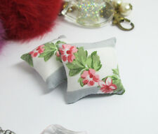 2PCS Pink Peach Flower Pillow Cushions For Sofa Bed 1/12 Dollhouse Miniature