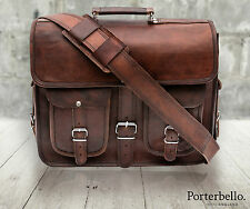 Medium Brown Vintage Style Handmade Leather Satchel Briefcase Laptop Bag RRP £85
