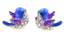 Cute blue enamel crystal bird charm stud earrings