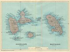 ANTILLES FRANÇAISES. Martinique Guadeloupe. French West Indies vintage map 1931