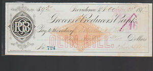 Grocers & Producers Bank Providence Rhode Island Used Check 1872 Olin Hill