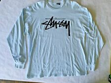 Stussy Spellout Logo Long Sleeve T-Shirt Mens Size XL   Light Blue Colorway