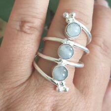 Rainbow Moonstone Round Multi Band Ring Decorated Boho Sterling Silver Sz 8