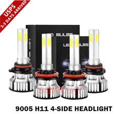 4-Sides 9005+ H11 LED Headlight Kit Fog Light Bulbs Error Free 6000K High Power