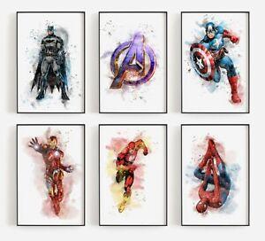 Superhero Avengers Print Splatter Watercolour Sketch Picture Children Gaming
