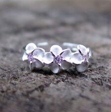Pink Cz Toe Ring 4mm Tr1032 Hawaiian 925 Sterling Silver 3 Plumeria Flower