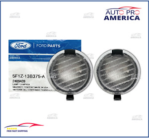 (2) NEW FORD Rear View Mirror Bottom Puddle Lamps Bulb & Lens 5F1Z13B375A