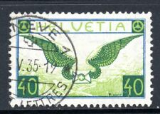 (026)    Switzerland 1923-40 Air 40c Blue & Apple Green SG322 VF Used Cat £120