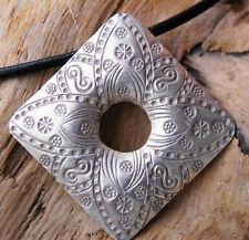Groß Silber Anhänger Floral Eckig Raute Viereck 4 x 4 cm Amulett Verspielt Ethno