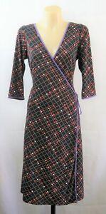 Leona Edmiston Ladies Black Wrap Dress Work Cocktail Stretch Design | Size 10 S