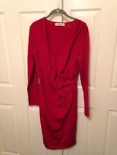 Valentino Knit Dress Red Ruffle Size L $2950