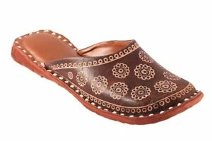 INDIAN LEATHER ETHNIC SANDAL SHOES SLIPPER MOJARIS THONGS FOR WOMENS AND  GIRLS