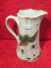 Antique French Majolica King Fisher Bird & Water Lily Pitcher, fm1166 GREAT GIFT
