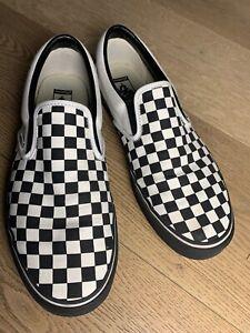 Vans Custom Slip-On - Black/White Check w/ Black mid -Canvas -Men 13 Pre-Owned