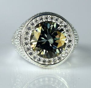 7.05 Ct Gray Diamond Solitaire Halo Men's Silver Ring Men's Latest Collection