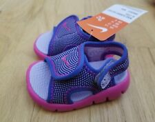 New Nike Baby Sunray Protect Toddler Sandals  Hydrangea/Fire Pink Girls Size 2C