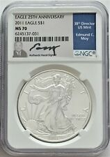 2011 SILVER EAGLE 25TH ANNIVERSARY NGC MS70 EDMUND MOY HAND SIGNED