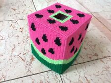 Watermelon tissue box cover, boutique size, handmade, needlepoint