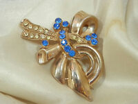 Blue Rhinestone Art Deco Brooch Vintage 1940s Pretty  304A4